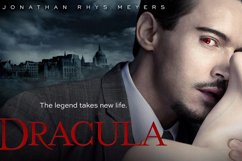 Poster de Drácula la serie, protagonizada por Jonathan Rhys-Meyers quien interpreta a Dracula.